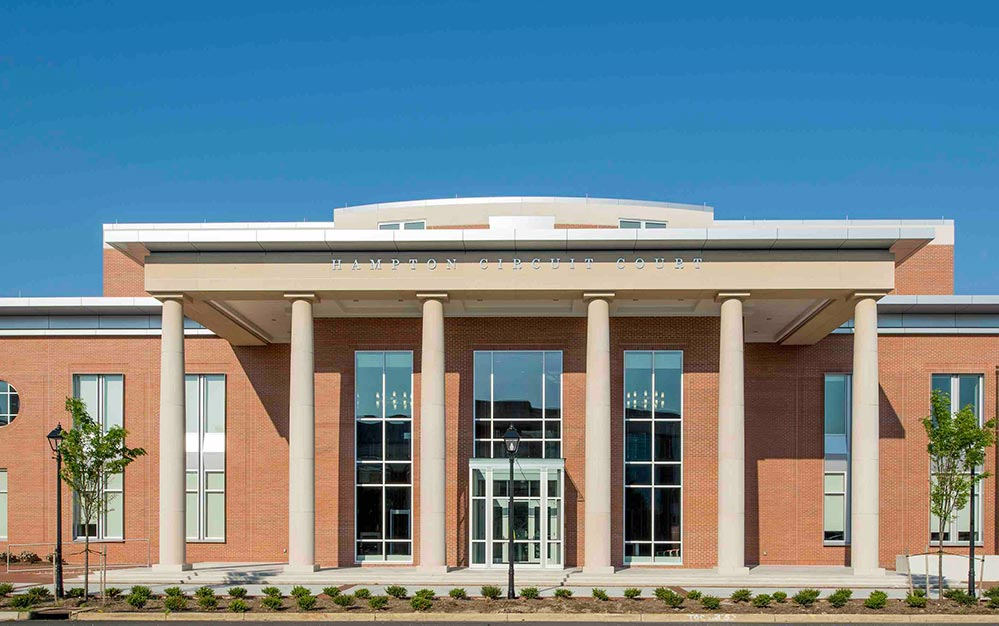 The new Hampton Virginia Circuit Court includes a beautiful catwalk suspended from stainless steel structural rods