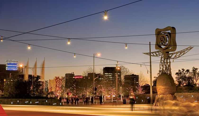 Catenary Lighting from Ronstan Tensile Architecture over Queensbridge Square in Melbourne
