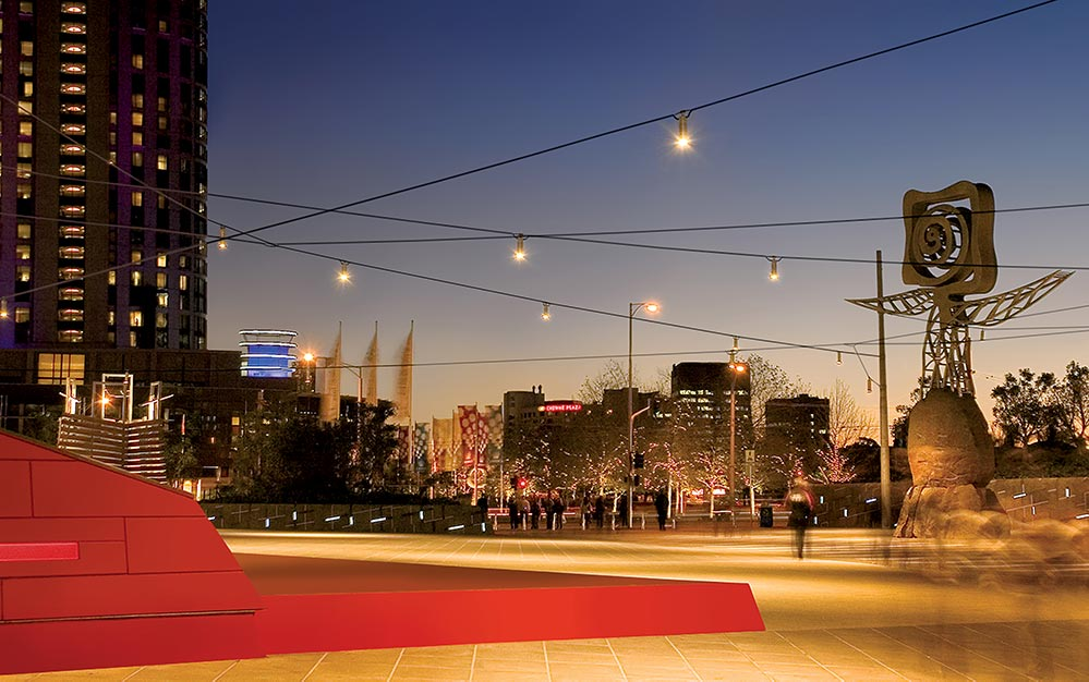Suspended luminaires illuminate key features of the space with pin point accuracy and provide essential security and ambience. The final catenary lighting system is similar to that which Ronstan Tensile Architecture executed at the renowned Federation Square.