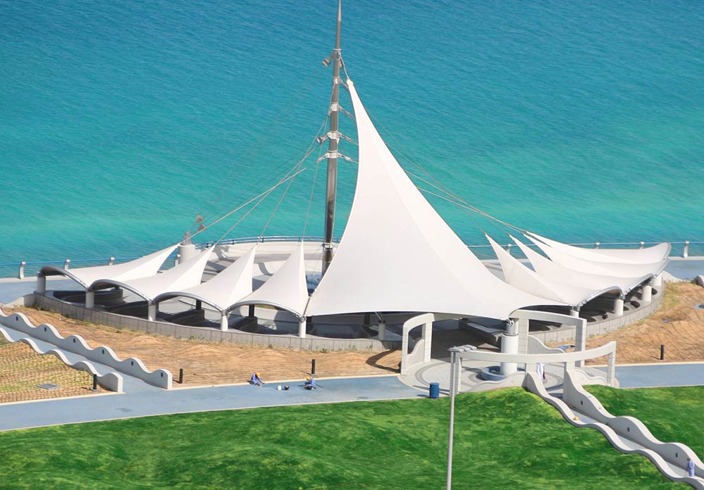 Abu Dhabi Corniche Foreshore Redevelopment - Ronstan ACS Structural Cable paired with Fabric Structures