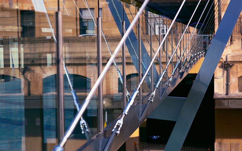 Adelaide's Festival Bridge; a pedestrian cable suspension bridge