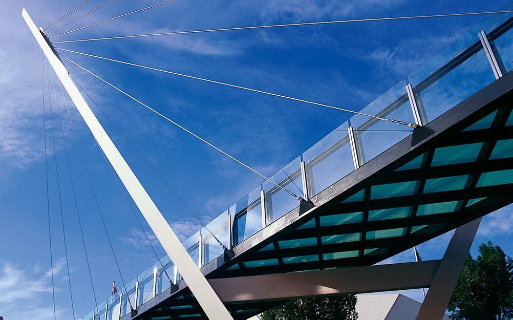 Detail of Adelaide's Festival Bridge; a pedestrian cable suspension bridge with Ronstan ACS2 Cables