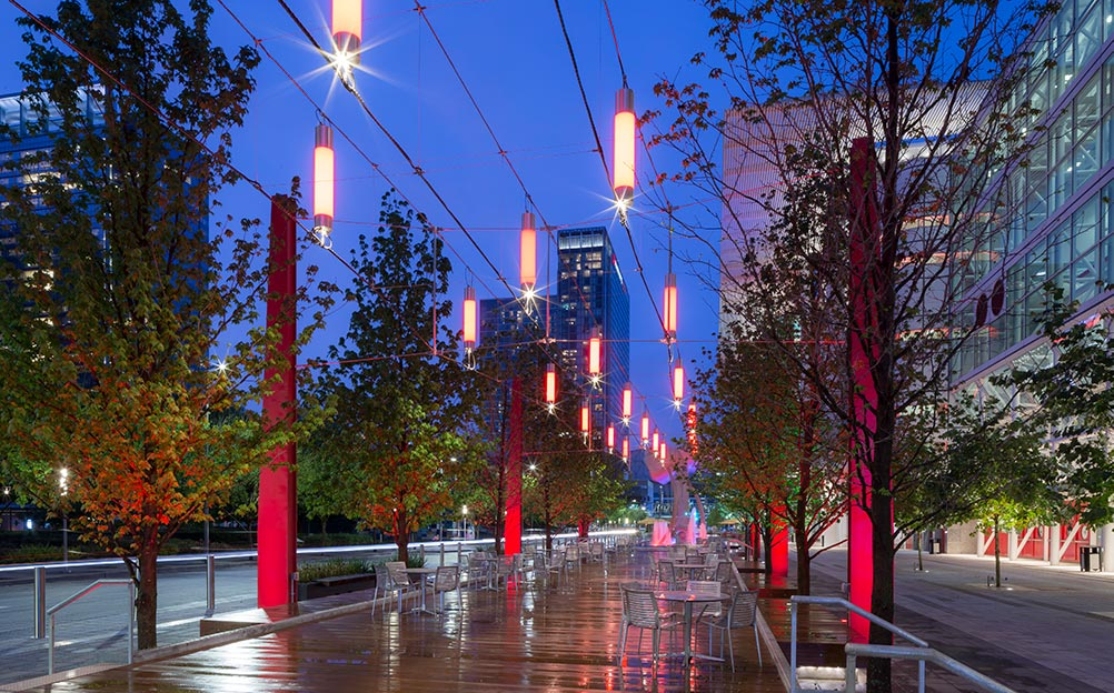 Illuminating Avenida Houston, Catenary Lighting by Ronstan Tensile Architecture