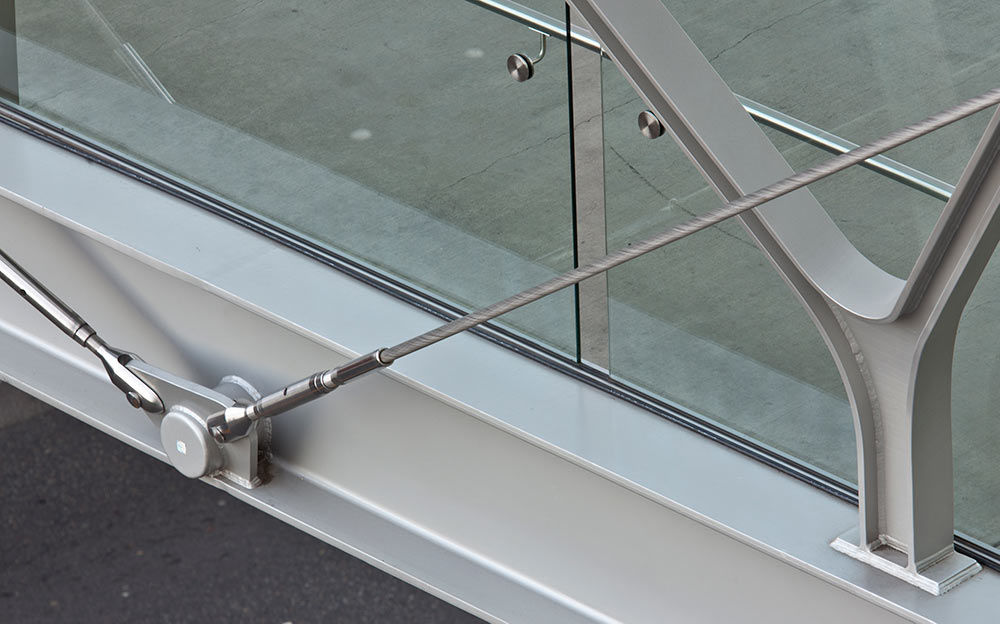 Detail of the Ronstan Tensile Architecture turnbuckles and stainless steel cables used on the Bellevue pedestrian cable stayed bridge