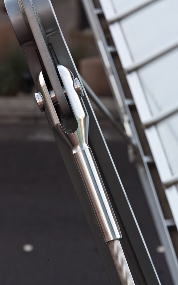 Detail of the Ronstan Tensile Architecture turnbuckles used on the Bellevue pedestrian cable stayed bridge