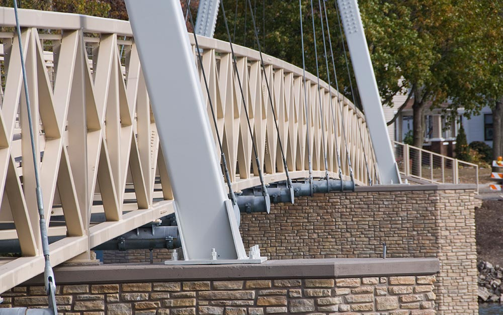 Ronstan Tensile Architecture was chosen as a supplier because of our extensive experience with cable stayed bridges, and Galfan coated cable assemblies. Ronstan also provided the cable infill on the railing system consisting of over 100 assemblies with swage terminal adjusters. These cables met the requirements to ensure a high level of safety while preserving aesthetics consistent with the overall design.