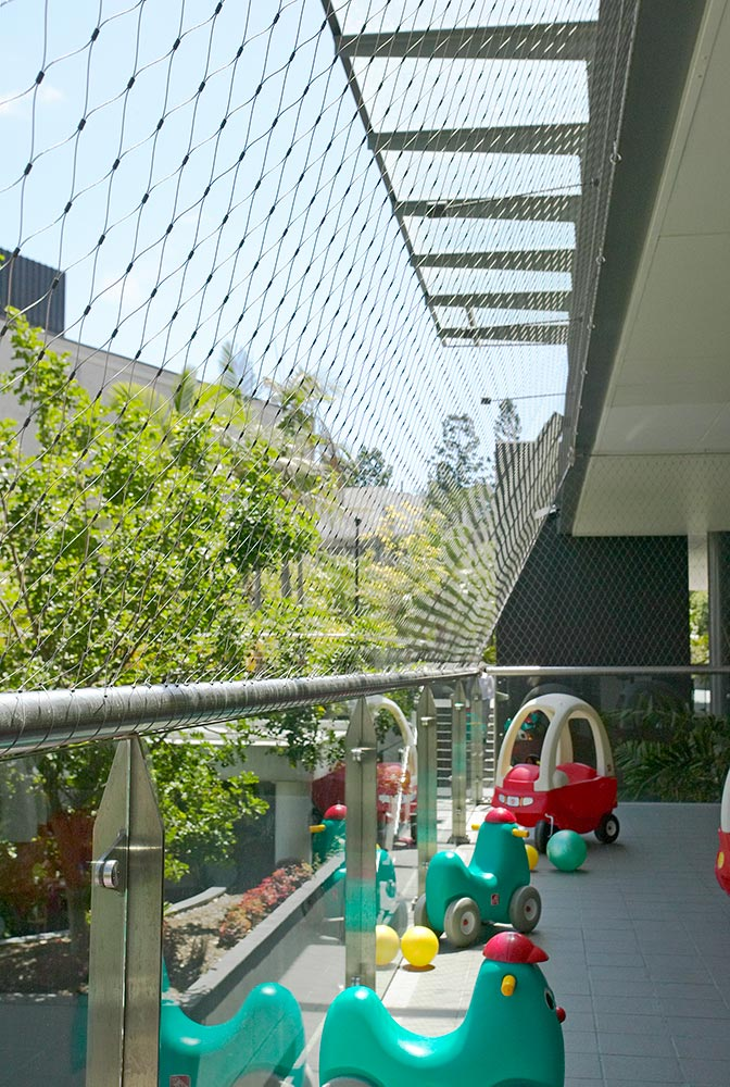 The view from behind the safety mesh in the ABC Learning Centre