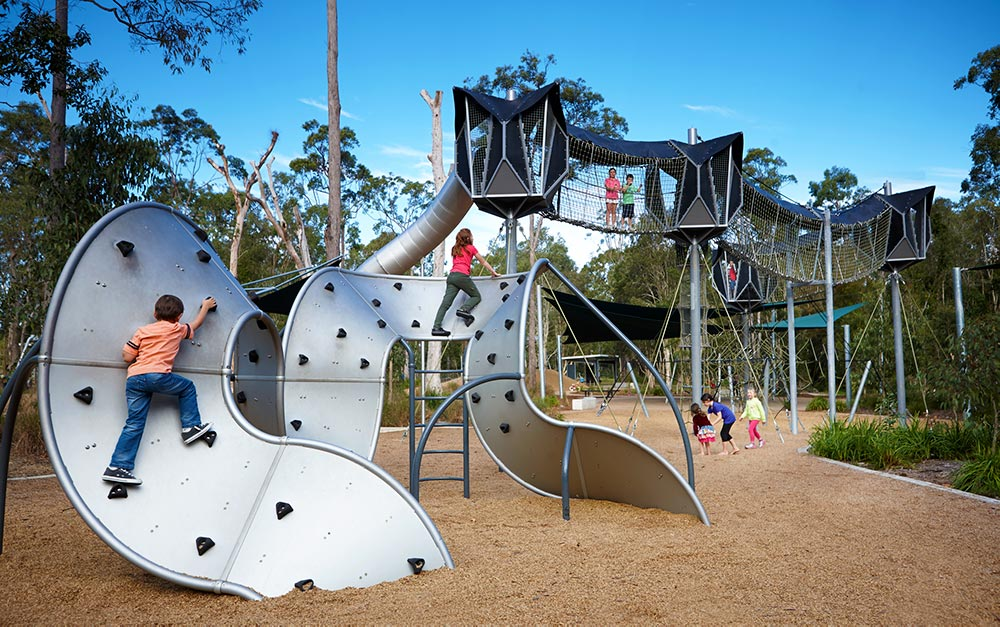Calamvale District Adventure Park Safety Mesh and Fall Protection by Ronstan Tensile Architecture. Photo by: Brisbane City Council https://www.flickr.com/photos/brisbanecitycouncil