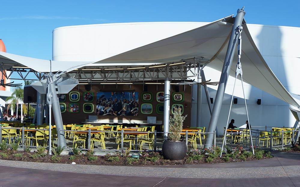 Ronstan Tensile Architecture recently helped launch a 10-year revitalization project of Kennedy Space Center by supplying Carbon Steel Rods for the new Rocket Garden Cafe.