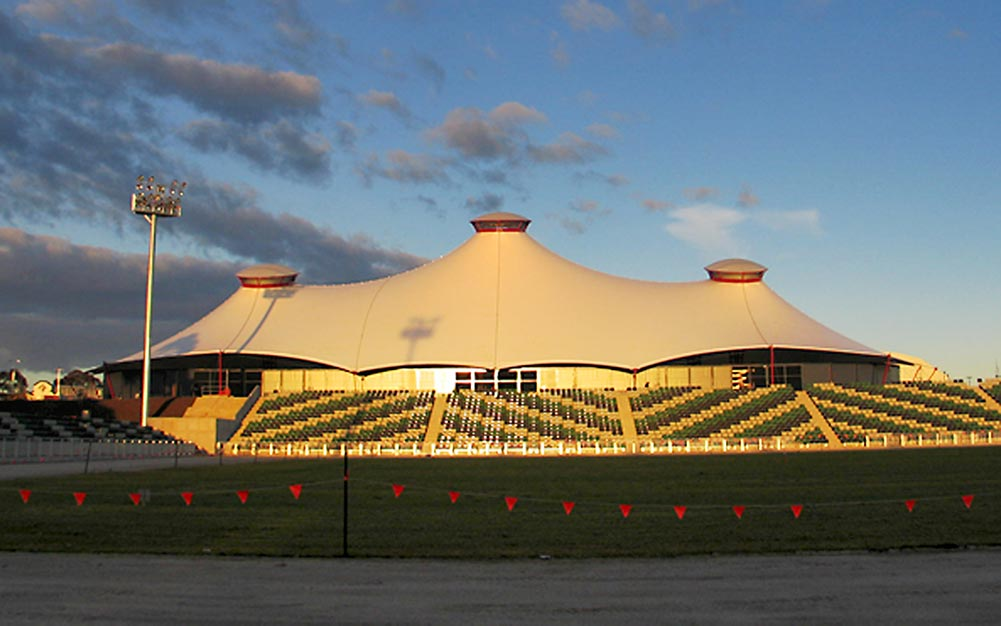 The Royal Melbourne Showground's Grand Pavilion is one of the largest tensile fabric membrane structures in the Southern Hemisphere