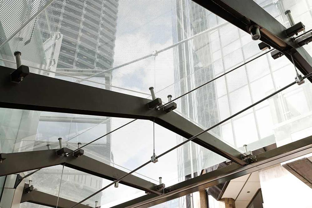 ACS2 trusses at Suspended glass awning at 259 George St, Sydney