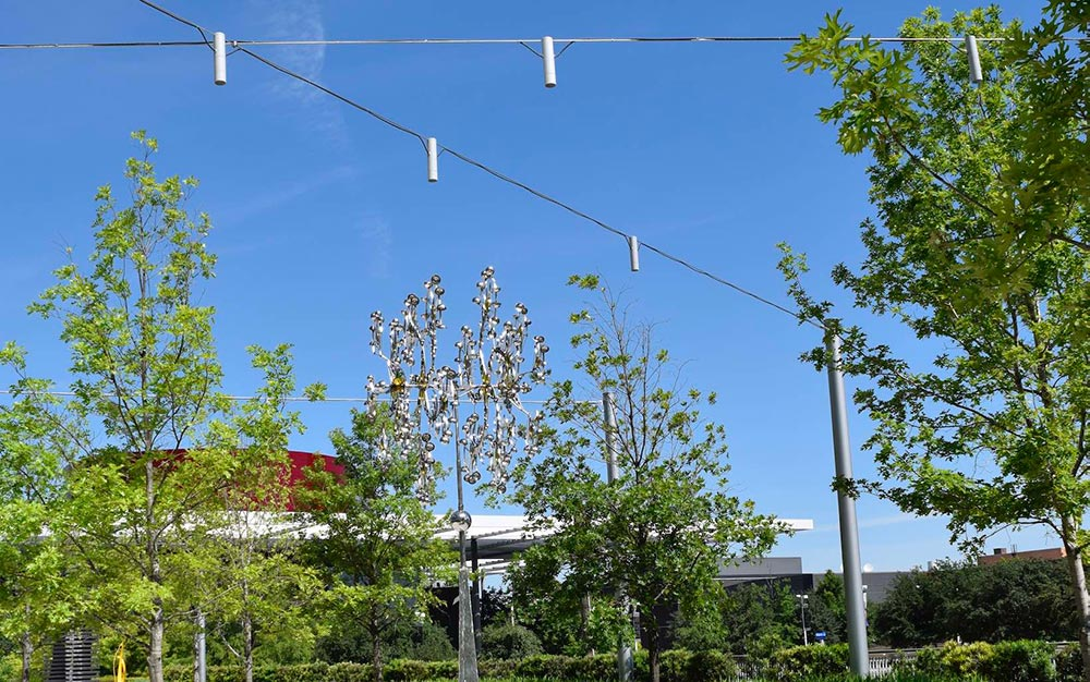 The catenary lighting needed to fit the artistic nature of the sculpture walk, to create an open, welcome and available green space for the public, while enhancing the experience of walking through the sculptures