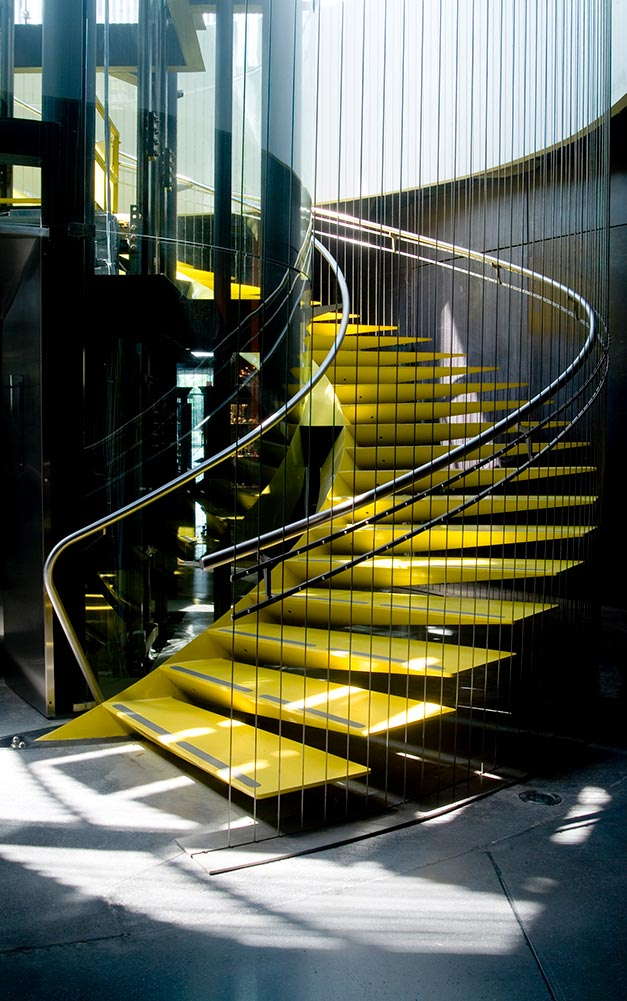 Ronstan Tensile Architecture was contracted to supply stainless steel pre-stressed cables for supporting the helical staircase and hand cable railing