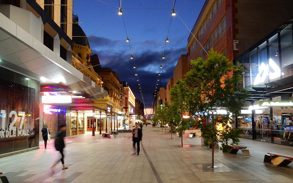 Rundle Mall catenary lighting system at dusk