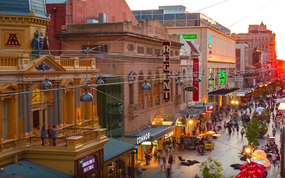 The pedestrian mall has been completely transformed after the installation of a catenary lighting system and the Adelaide City Council has been thrilled with the results.