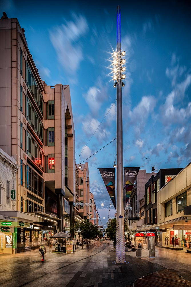 The Ronstan Tensile Architecture catenary lighting system at Rundle Mall