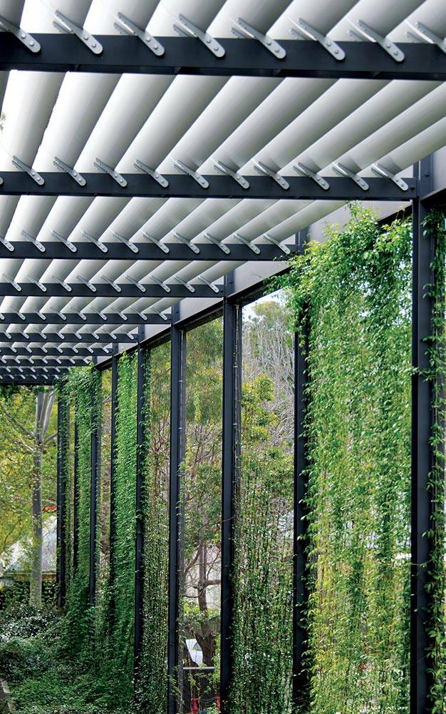 The eastern facade green walls of Our Lady of Mercy College by Ronstan Tensile Architecture