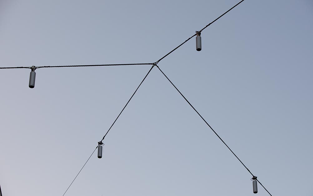 The catenary lighting system detail, by Ronstan Tensile Architecture
