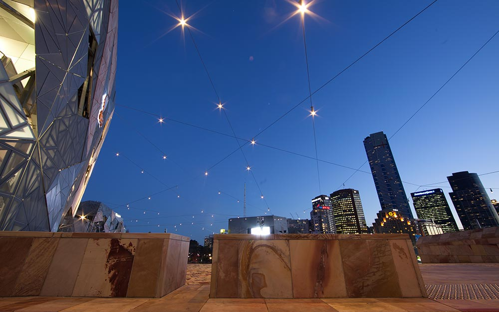 The catenary lighting system at Melbourne's famous Federation Square