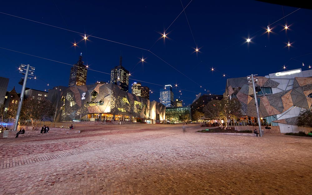 Federation Square Melbourne Catenary Lighting