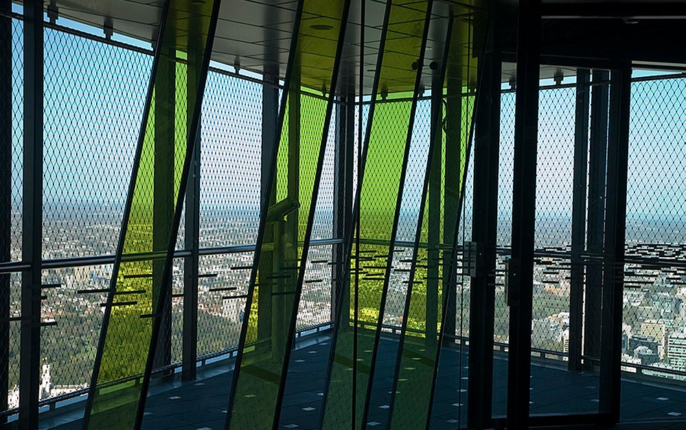Eureka Tower Skydeck fall protection and safety barrier by Ronstan Tensile Achitecture