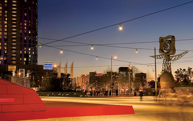 Queensbridge Square catenary lighting installation by Ronstan Tensile Architecture