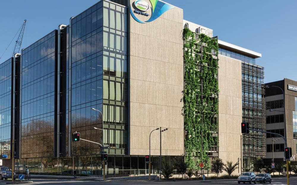 Fonterra building with green plants covering the facade